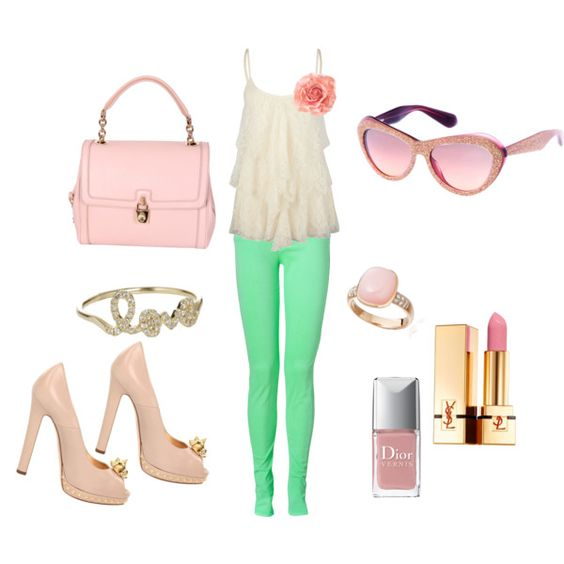 pretty girly, I hate pink but I Love this look! And those pants are a must have!