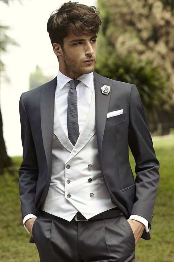 Grey 4-piece formal suits for men