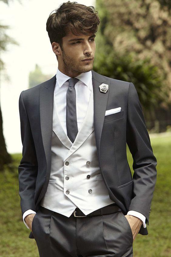 Grey 4-piece formal suits for men