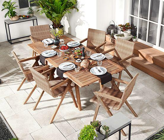 Dining Set Aus Polyrattan Und Akazie 7 Teilig Ausziehbarer Gartentisch Gartenmobel Sets Naturfarben