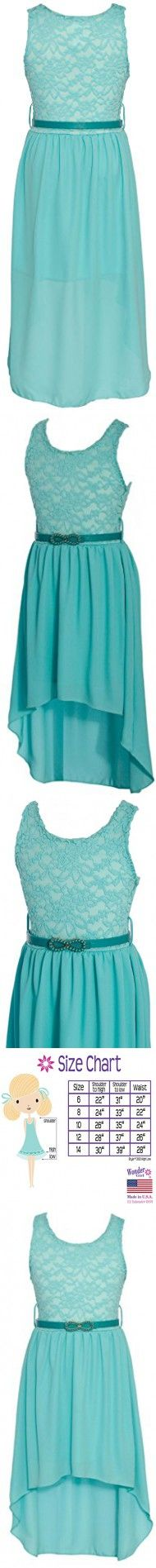 Wonder Girl Big Girls' Solid Lace Chiffon High Low Dress Set 14 Tiffany Blue