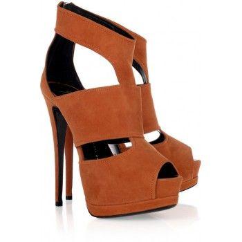Giuseppe Zanotti orange suede platform sandals