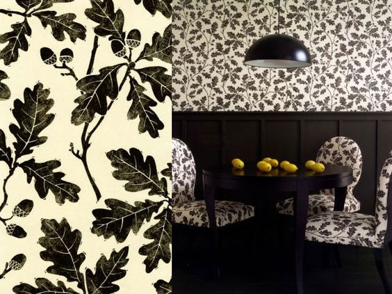 oak leaf and acorn wallpaper and fabric black and white