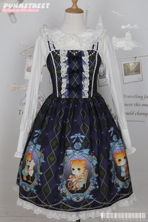 --> New Release: PunkStreet [-✂-Tailor Cat-✌-] Lolita JSK --> Are you a tailor cat? ^_^ --> Shop it here >>> http://www.my-lolita-dress.com/punkstreet-taior-cat-lolita-jumper-dress-ps-4