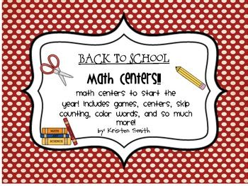 This Back to School Math Center packet is perfect for getting students back into the swing of things. Complete with over 100 pages of activities, s...