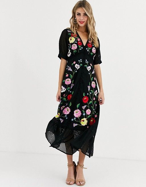 Asos Design Dobby Embroidered Button Through Maxi Tea Dress In Black Asos In 2020 Maxi Dress Prom Tea Dress Party Dress Shoes