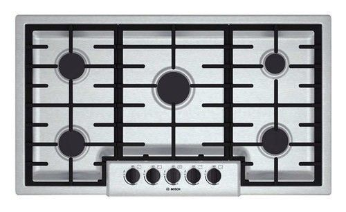 """Bosch - 500 Series 36"""" Built-In Gas Cooktop - Stainless Steel"""