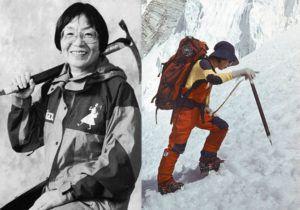 Джунко Табей. Японката е първата жена, изкачила Еверест. Табей достигна върха през 1975-та година на 35-годишна възраст. След това изкачванията продължават, като до смъртта си Табей е изкачила първенците на над 70 държави по света. През 1992-ра година, Табей става първата жена, събрала престижната колекция Севън Съмитс.