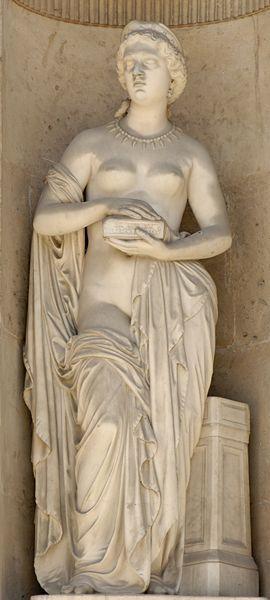 Pandora (1861), by Pierre Loison (1816-1886). East façade of the Cour Carrée in the Louvre palace, Paris.