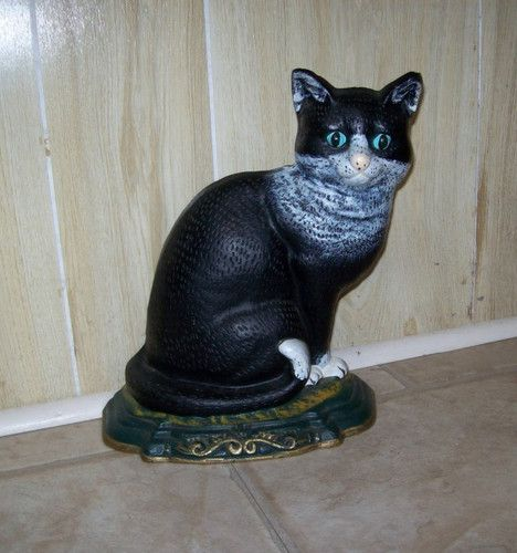 Cast iron 11 black cat doorstop w green eyes doorstops bookends pinterest doorstop - Cast iron cat doorstop ...