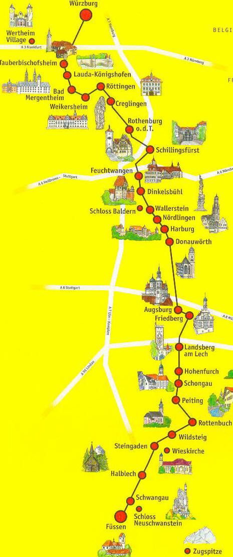 Romantische strasse routen (Romantic Road) Bavaria Germany( Beieren Duitsland ) some of the most beautiful and historic scenery in the world.