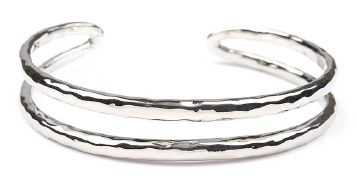 Hammered Open Silver Cuff.  Item #PB0598RD $12  Available at Impulse Gifts 812.481.2880 We ship daily.   https://www.facebook.com/ImpulseJasper
