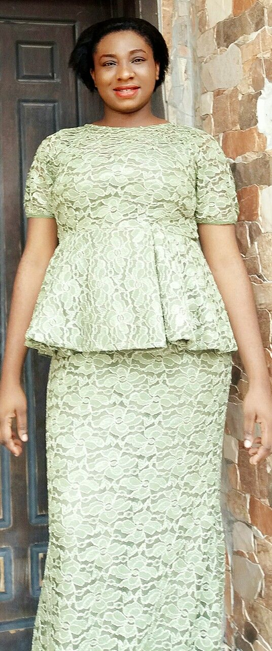 A shape skirt and blouse with sample lace