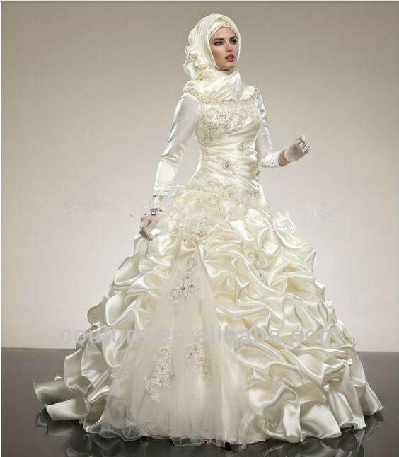 Arabic Modest new design muslim Bridal wedding dress for muslim women 2014