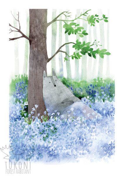 Wolf se détendre dans les fleurs sauvages Art print par TukoniTribe
