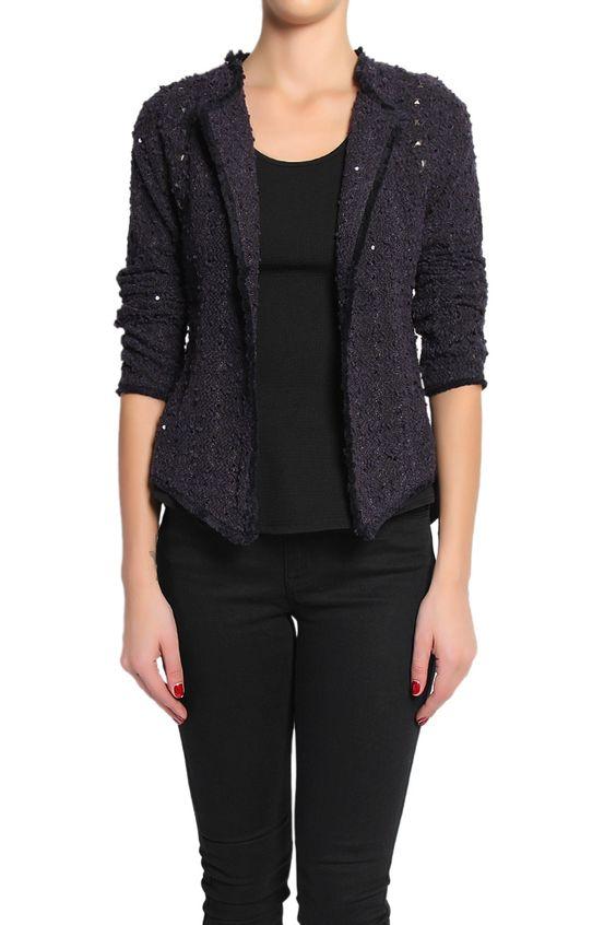 TheMogan Sequined Frayed Open Front Tweed Jacket