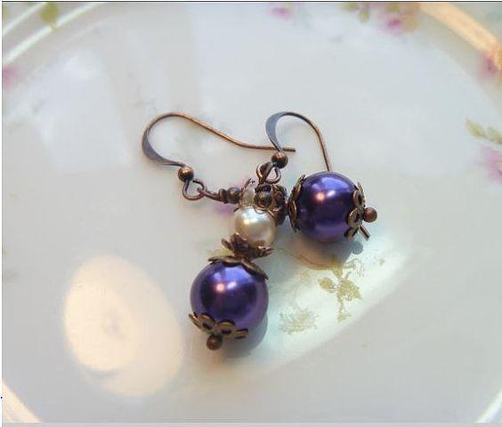 Purple Earrings Purple Pearl Earrings Dangle by thebeadedcottage, $12.00