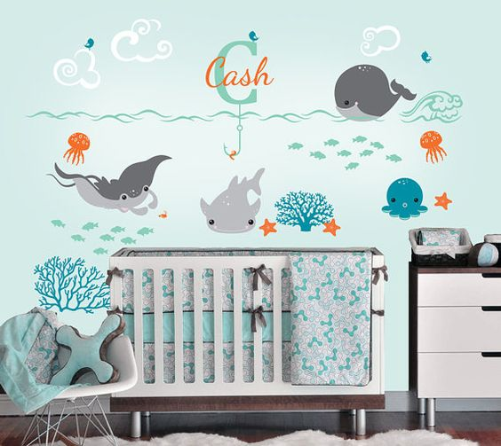 Ocean Wall Decals with Custom Name Custom Baby Nursery