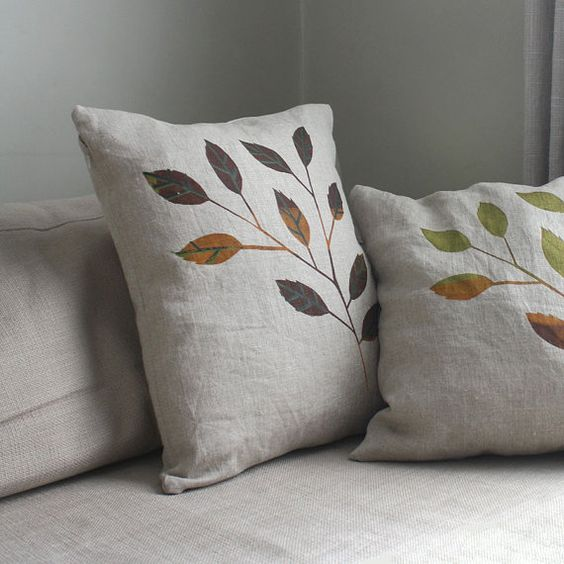 Autumn Linen Decorative Pillow Covers Screen Printed Leaves On Magnificent Earth Tone Decorative Pillows