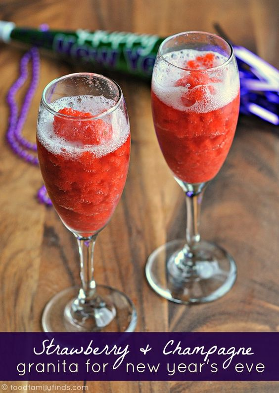Champagne and Strawberry Granita Recipe for New Year's Eve  3 cups of diced strawberries  1 cup hot water  ¾ cup granulated sugar  1 tablespoon fresh squeezed meyer lemon juice  1 bottle of pink champagne, chilled