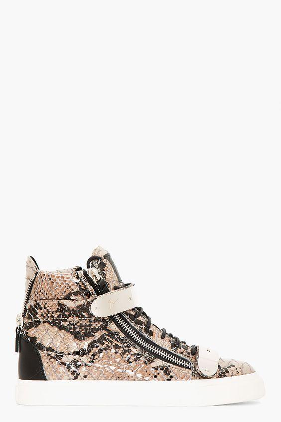 Giuseppe Zanotti Grey Leather Python Atlantide High top Sneakers