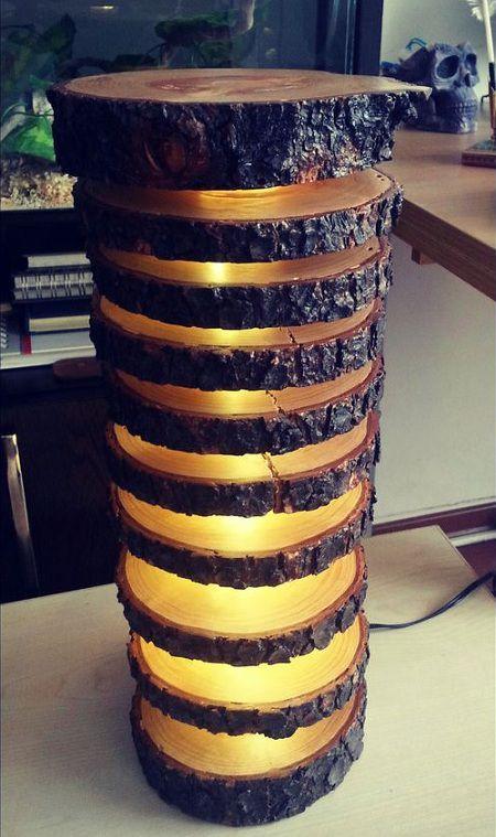 Como hacer una espectacular lampara con troncos