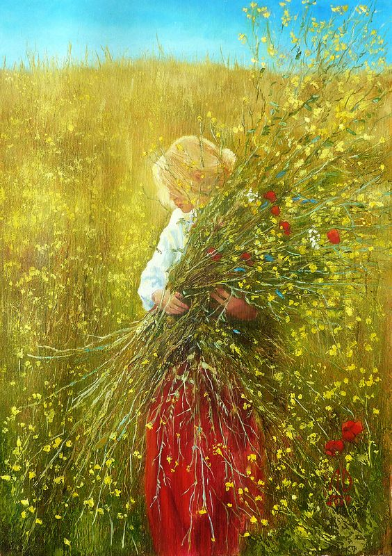 Girl with flowers Original oil painting Woman art on canvas Nature painting Flowers artwork Woman picture Woman flower art Gift for her