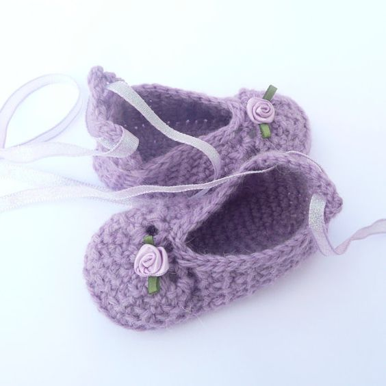 BABY Booties CROCHET PATTERN Posh Purple Party Baby Shoes ...