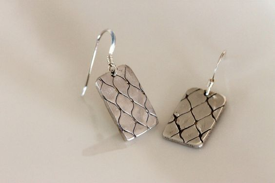 fine silver dangle earrings handmade eco friendly diamond patterned metalwork. $49.00, via Etsy.