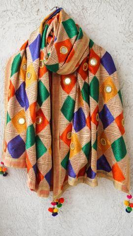 Bagh Multicolored Phulkari Parantha Embroidery with Mirrorwork Dupatta