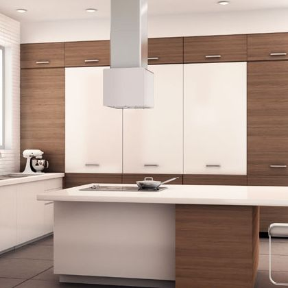 Hood ventilation above kitchen island - love this simple modern style. Comes in different cool color options too.