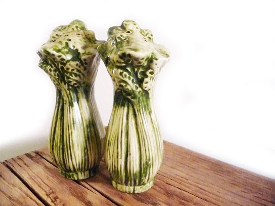 Celery stalk vintage salt and pepper shakers