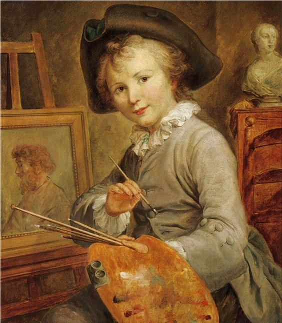 Portrait of a Young Boy as an Artist (late 18th c). François-Hubert Drouais (French, 1727-1775). Oil on canvas. The good looking boy is dressed in the fashionable clothes of aristocratic children of the period and, holding his palette, turns away...: