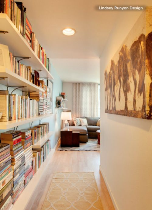 bookcase wall hall - Google Search