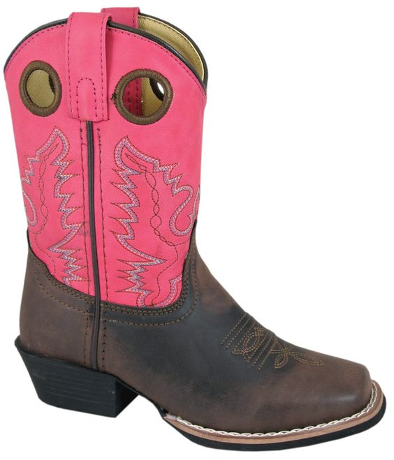 Smoky Mountain Boots Children Girls Memphis Brown/Pink Faux Leather Cowboy
