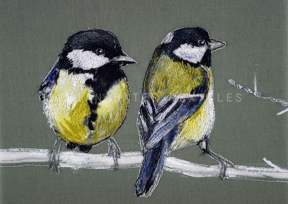 'Great Tits'  Hand & Machine Embroidery ©gillian bates 2016: