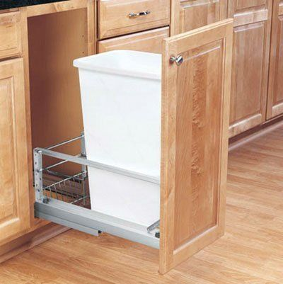 Rev-A-Shelf RS5349.1550DM.1 10.75 in. Soft Close, Floor Mount, Single 50 qt Bin - White by Rev-A-Shelf. $179.54. Premiere 50 Quart Waste Container.. Door mount kit included to mount cabinet door to waste container.. Optional door mount extenders that allow mounting to brackets to thick portion of cabinet door.. Features full-extension soft close ball-bearing slides.. Removable container for easy cleaning underneath.. Heavy duty brushed aluminum self-closing slide...