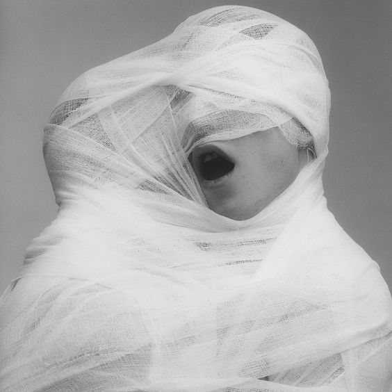 Robert Mapplethorpe - White Gauze, 1984. This photo just caputres my attention. I'm curious as to why they are wrapped in gauze. It really makes me want to know more.  http://www.sympathyfortheartgallery.com/post/25596875634/alecshao-robert-mapplethorpe-white-gauze#