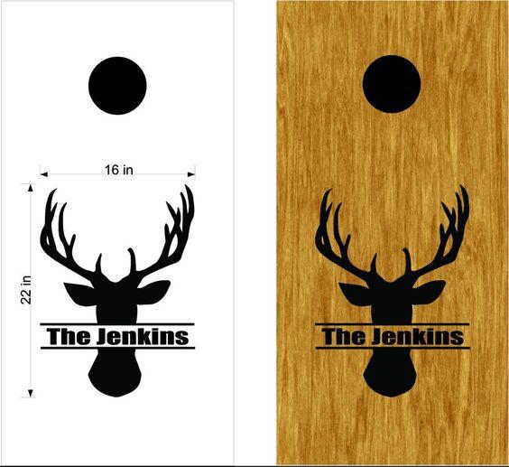 family name buck deer board vinyl decal