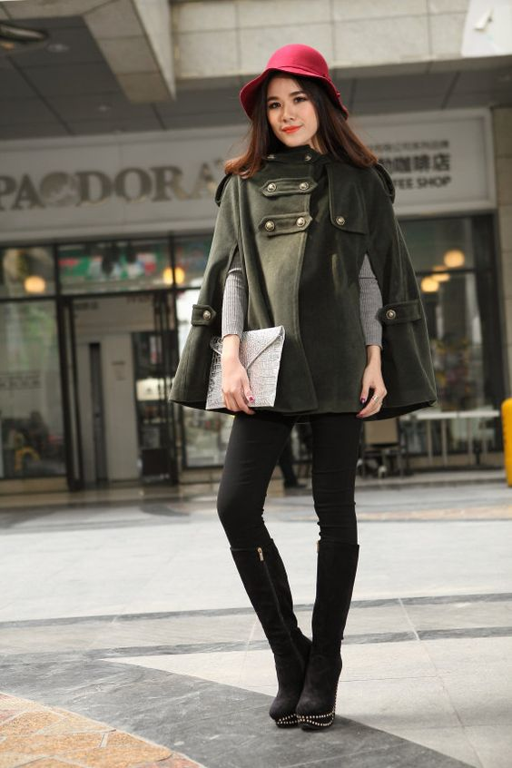 Hey, I found this really awesome Etsy listing at https://www.etsy.com/listing/121371948/army-green-hooded-cape-wool-coat-women