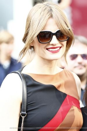 #StanaKatic leaving Salvatore Ferragamo's show at Milan Fashion Week (2015)