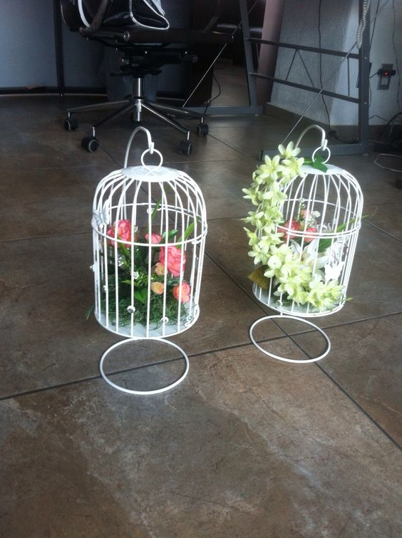 Jaulas Decoracion Mercadolibre ~ Hermosas jaulas decoradas con flores  Jaulas decorativas  Pinterest