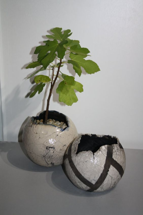 Céramique raku  pot de fleur