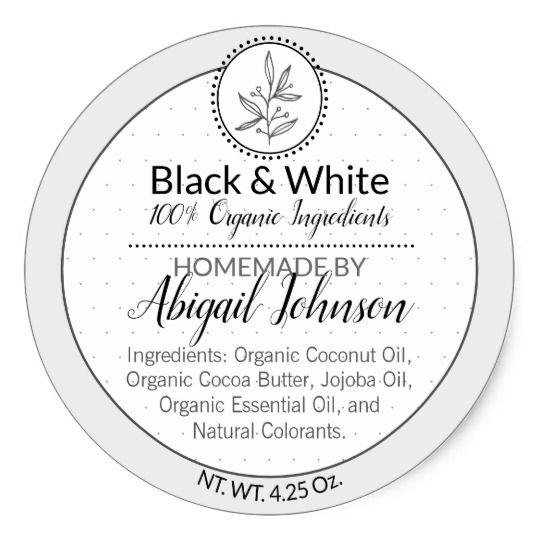 Black White Homemade Scrub Or Body Butter Label Zazzle Com In 2020 Body Butter Labels Homemade Scrub Body Butter
