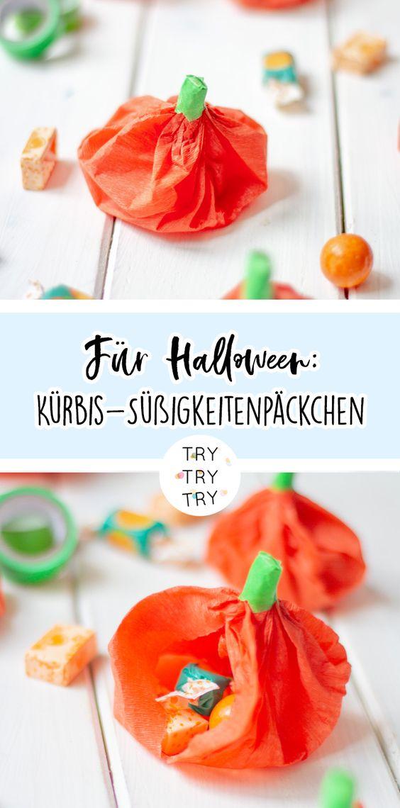 Für Halloween: Kürbis-Süßigkeitenpäckchen
