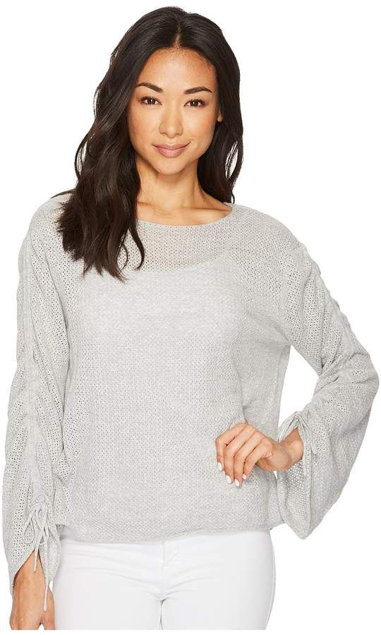 Vince Camuto Drawstring Bell Sleeve Pointelle Sweater Women's Sweater