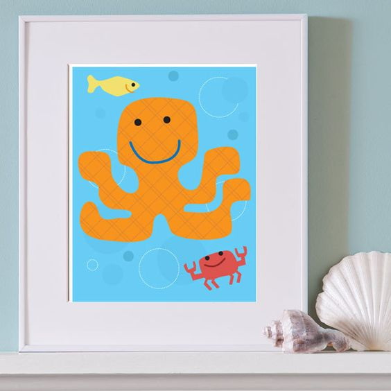 Sea Octopus Print for Kid's Room