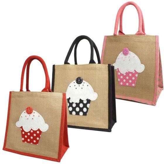 Jute Hessian Medium Shopping Bag - Cupcake Design