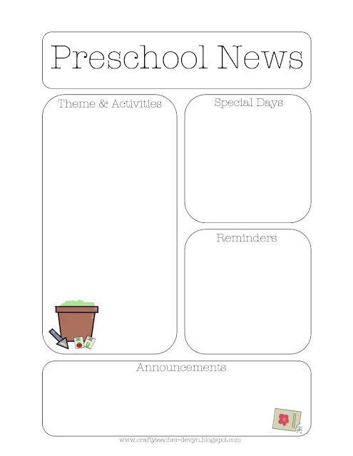 Gardening Themed Preschool Newsletter Template  Infant Classroom