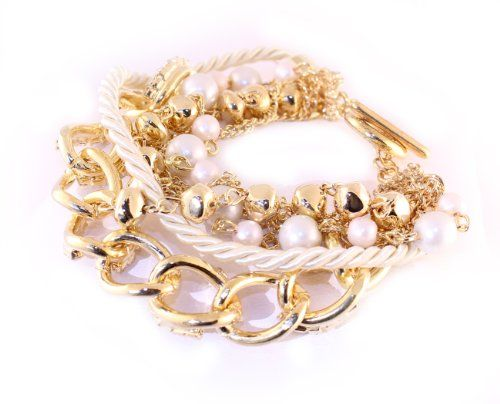 Gold Tone Toggle Link Bracelet Fashion Jewelry